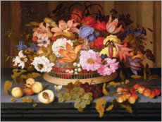 Balthasar van der Ast - Still Life of Fruit and a Basket of Flowers