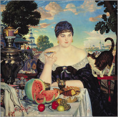 Boris Mihajlovic Kustodiev - Des Kaufmanns Frau beim Tee