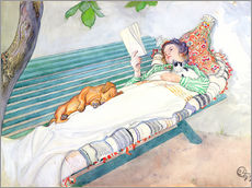 Carl Larsson - Auf einer Bank liegende Frau 