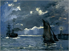 Claude Monet - Schiffe im Mondschein