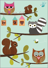 Claudia Sch�n - Happy Tree with cute animals - owls, squirrel, racoon