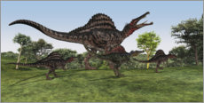 Corey Ford - A Spinosaurus mother walks with her youngsters in prehistoric times.
