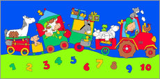 Daniella de Grood - tractor train with farm animals and numbers