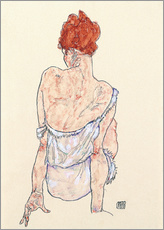 Egon Schiele - Seated woman in underwear, rear view, 1917