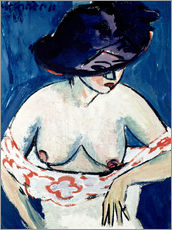 Ernst-Ludwig Kirchner - Halbnackte Frau mit einem Hut 