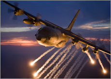  HIGH-G Productions - A C-130 Hercules releases flares during a mission over Kansas.