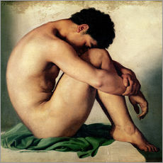 Hippolyte Flandrin - Studie eines nackten, jungen Mannes
