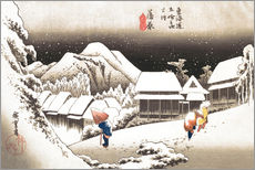 Hiroshige - Night Snow, Kambara, illustration from the series 'Fifty-three Stations on the Tokaido', c.1834-35