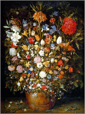 Jan Brueghel d.. - Large bouquet of flowers in a wooden tub