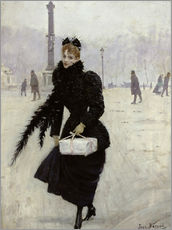 Jean Beraud - Parisian woman in the Place de la Concorde