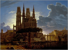 Karl Friedrich Schinkel - Dom ber einer Stadt. Nach 1813. (Kopie von K.E.Biermann um 1830).