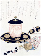 Katsushika Hokusai - A Pot of Tea and Keys