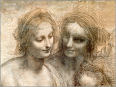 Leonardo da Vinci - Detail der Kpfe von der Heiligen und Jungfrau und der Heiligen Anna