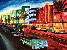 M. Bleichner - Miami Ocean Drive mit mintfarbenen Cadillac