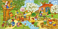 Marion Krtschmer - Wimmelbild, Garten im Frhling