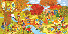Marion Krtschmer - Wimmelbild, Garten im Herbst