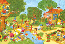 Marion Krtschmer - Wimmelbild, Garten im Sommer