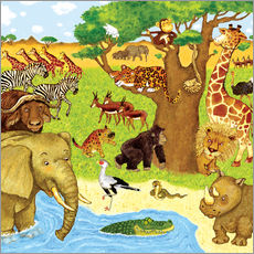 Marion Krtschmer - Wimmelbild, Tiere in Afrika