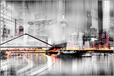  Nettesart - Dsseldorf NRW Skyline Abstrakte Collage Rhein