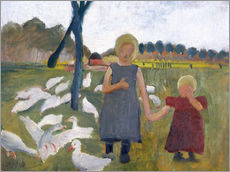Paula Modersohn-Becker - Kinder mit Gnsen am Ziehbrunnen.