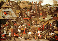 Pieter Brueghel d.J. - Netherlandish Proverbs illustrated in a village landscape