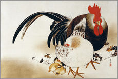 Shibata Zeshin - Hanging scroll depicting a Cockerel, hen and chicks