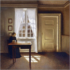 Vilhelm Hammershoi - A woman sewing in an interior, 1901