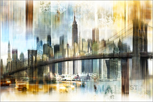 poster leinwandbild skyline new york abstrakt fraktal nettesart. Black Bedroom Furniture Sets. Home Design Ideas