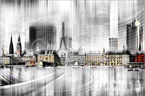 poster leinwandbild hamburg skyline sw abstrakte collage nettesart ebay. Black Bedroom Furniture Sets. Home Design Ideas
