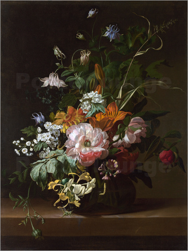 Still life with flowers Posters by Rachel Ruysch