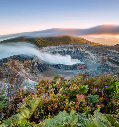 Matteo Colombo - Sunrise over crater of volcano, Volcan Poas, Costa Rica