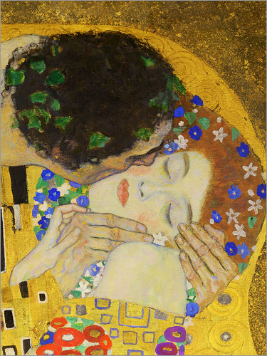 poster leinwandbild der kuss detail gustav klimt ebay. Black Bedroom Furniture Sets. Home Design Ideas