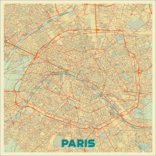 Wandsticker Karte von Paris, Retro