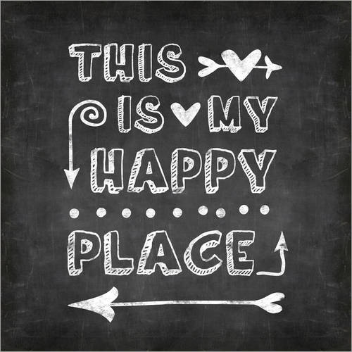 Wandsticker happy place chalk