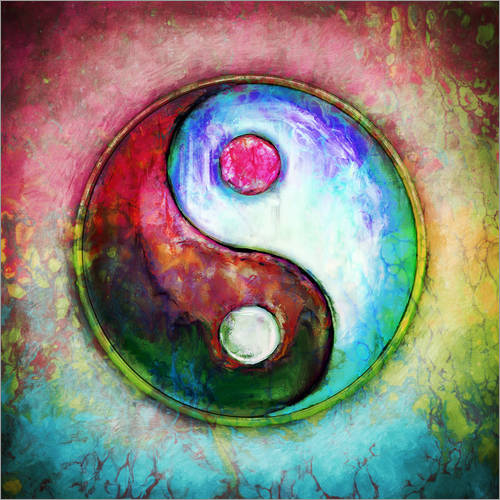 Wandsticker Yin Yang - Colorful Painting 4