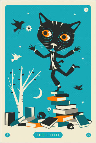 Premium-Poster THE FOOL TAROT CARD CAT