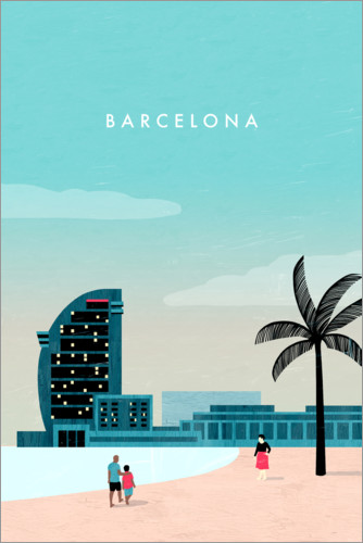 Premium-Poster Barcelona Illustration