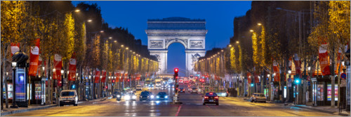 Premium-Poster Champs Elysees und Arc de Triomphe in Paris