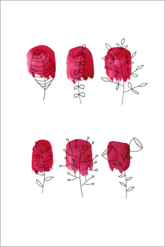 Premium-Poster Florales in rot