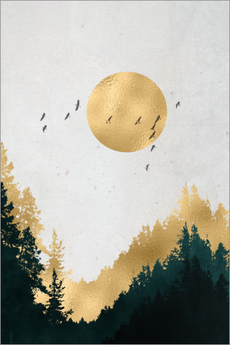 Premium-Poster Mond in Gold
