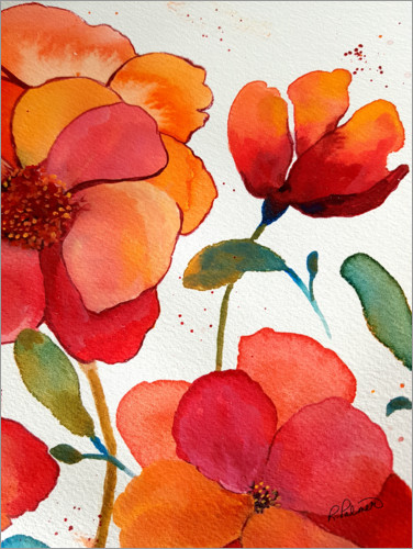 Premium-Poster Blumen in rosa und orange