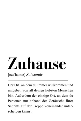 Premium-Poster Zuhause Definition