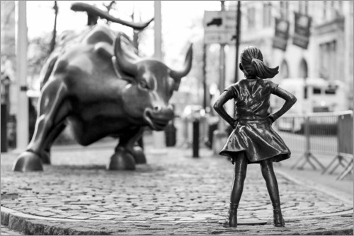 Premium-Poster Fearless Girl und Wall-Street-Bulle