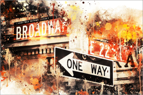 Premium-Poster NYC Broadway One Way