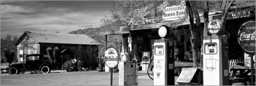 Premium-Poster Tankstelle on der Route 66, Hackenberry, USA