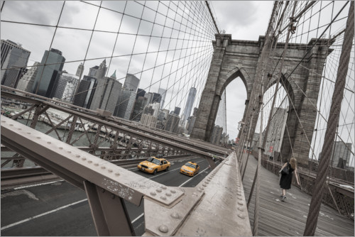 Premium-Poster Brooklyn Bridge mit gelben Taxis