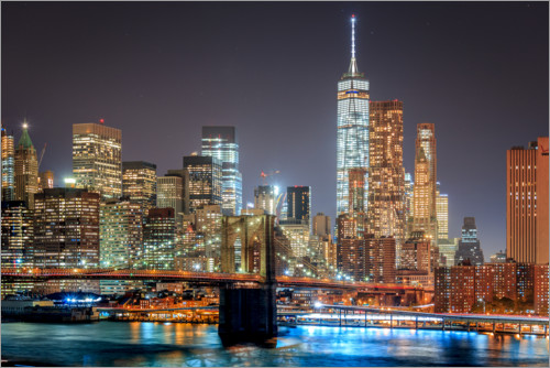 Premium-Poster Downtown Manhattan und Brooklyn Bridge
