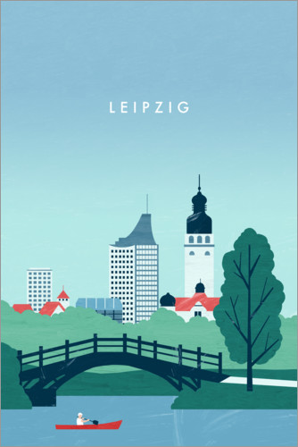 Premium-Poster Leipzig Illustration