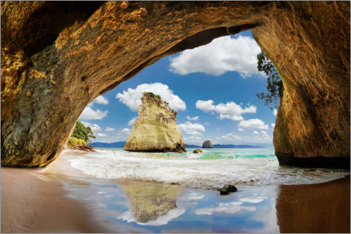 Premium-Poster Cathedral Cove Neuseeland