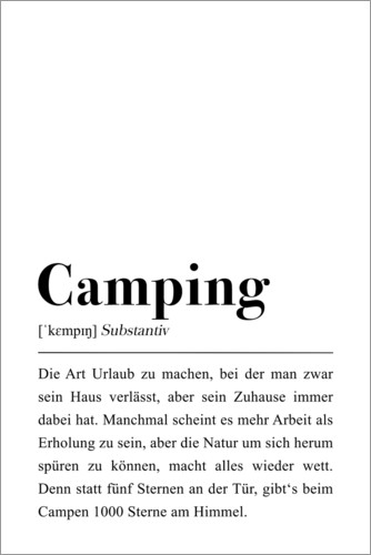 Premium-Poster Camping Definition